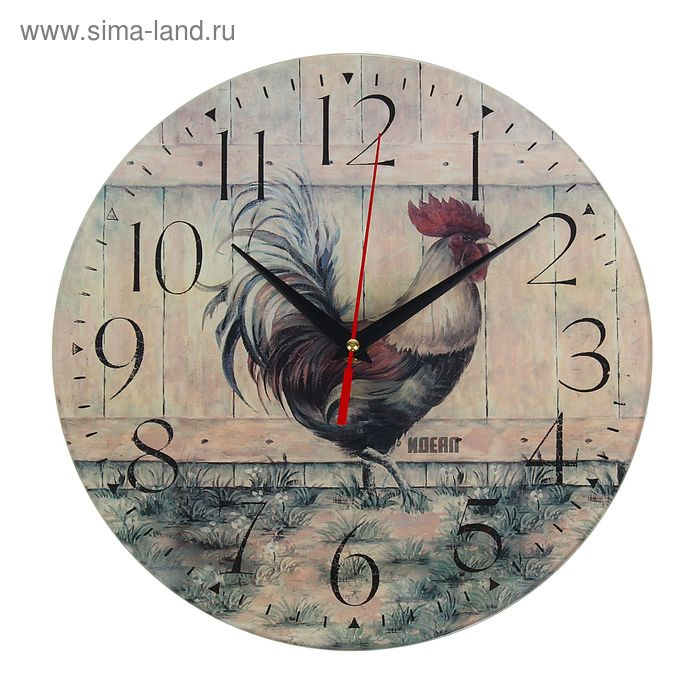 "Часы настенные ""Петух"", стекло,круг,28х28см"