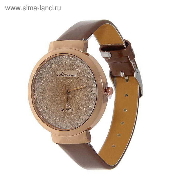 Часы наручные женские блестящий циферблат, без цифр, ремешок коричневый