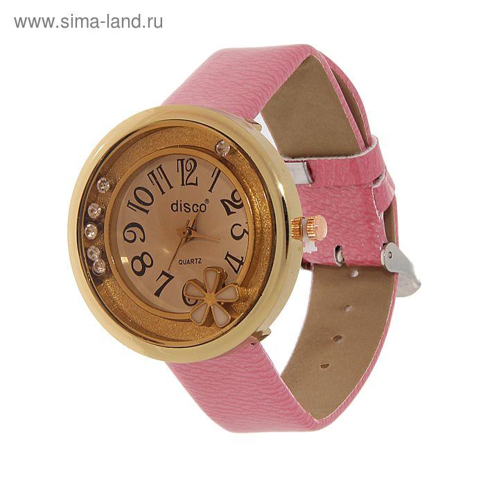 Часы наручные женские все цифры в круг, на корпусе цветок, ремешок глянец, розовый