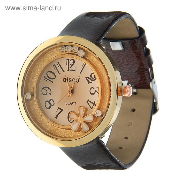 Часы наручные женские все цифры в круг, на корпусе цветок, ремешок глянец, коричневый