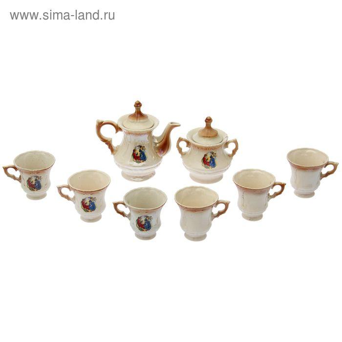 """Чайный сервиз """"Блиц"""" коричневый, Мадонна, 8 предметов: чайник 0,6 л, сахарница, 6 кружек 0,25 л"""