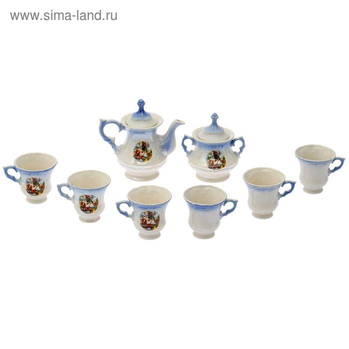 """Чайный сервиз """"Блиц"""" голубой, султана, 8 предметов: чайник 0,6 л, сахарница, 6 кружек 0,25 л"""