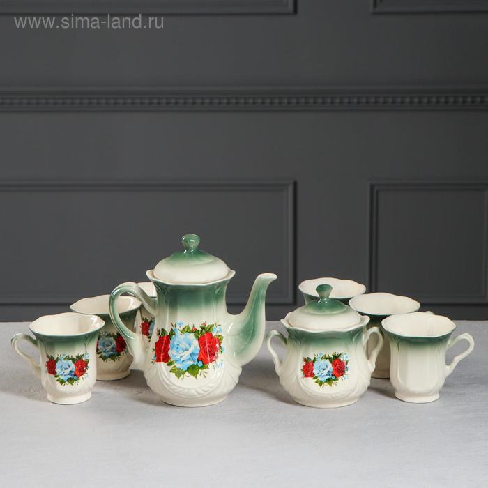 """Чайный сервиз """"Ажур"""" изумруд, розы, 8 предметов: чайник 1 л, сахарница, 6 кружек 0,25 л"""