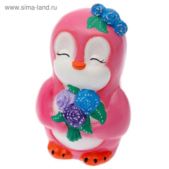 """Копилка """"Пингвинёнок Ника"""" глянец, розовая"""