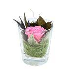 "Композиция в вазе ""Измир"", роза ярко-розовая, 7,1 х 7,1 х 8,3 см, 175 мл"