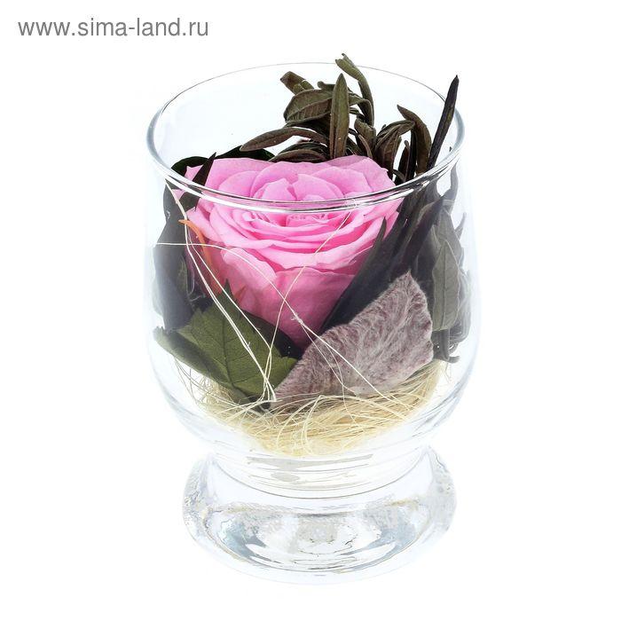 Композиция в вазе, роза розовая, 9 х 9 х 10,5 см
