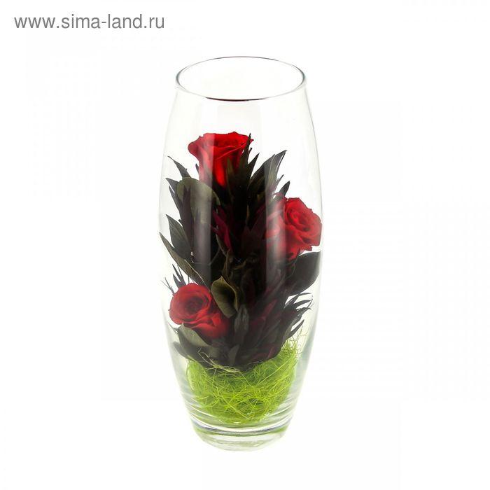"""Композиция в вазе """"Мунглинг"""", розы красные, 10 х 10 х 25 см"""