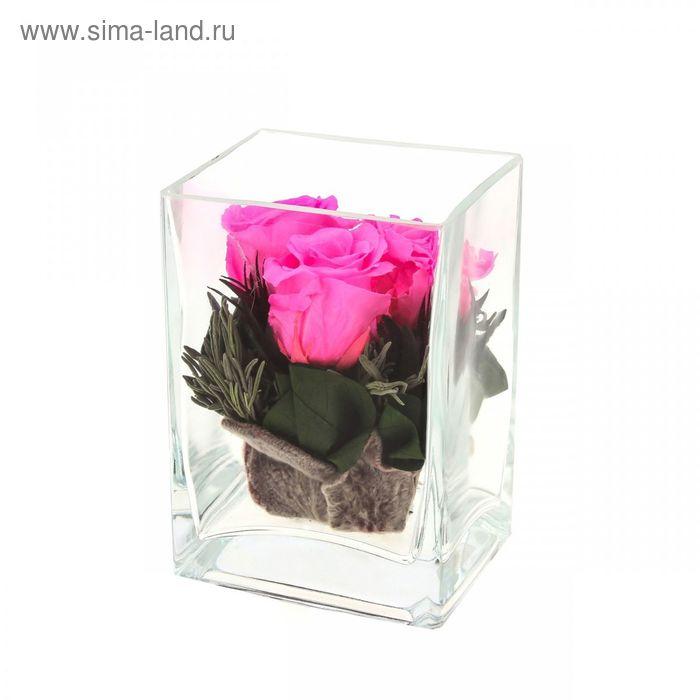 """Композиция в вазе """"Ректангель"""", розы розовые, 10 х 8 х 14 см"""