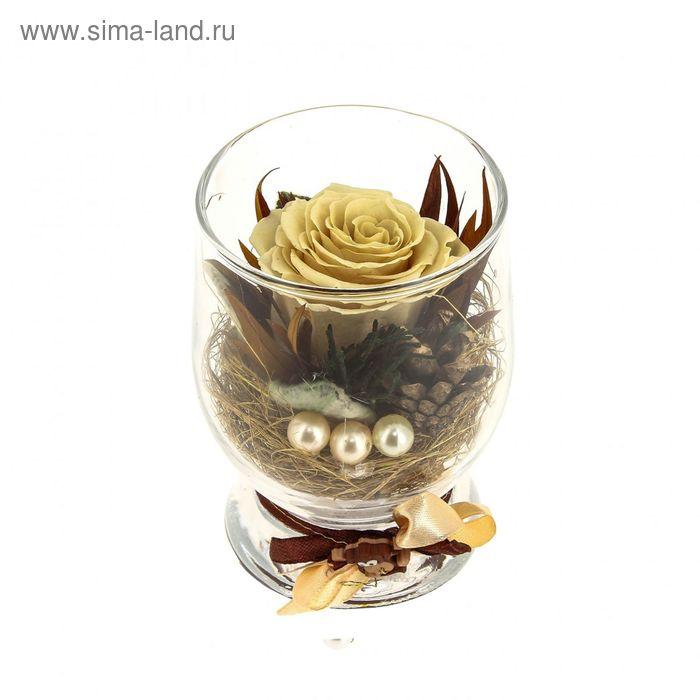 """Композиция в вазе """"Акватик"""" новогодняя, роза бежевая, 7 х 10,5 х 7,8 см, 310 мл"""