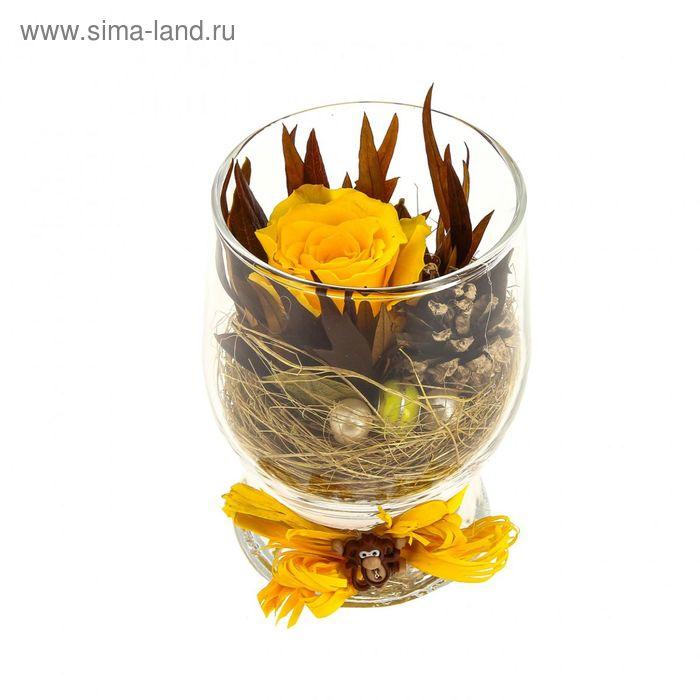 """Композиция в вазе """"Акватик"""" новогодняя, роза желтая, 7 х 10,5 х 7,8 см, 310 мл"""