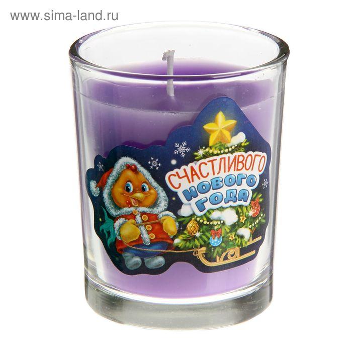 """Свеча в стеклянном стаканчике """"Счастливого Нового года"""""""