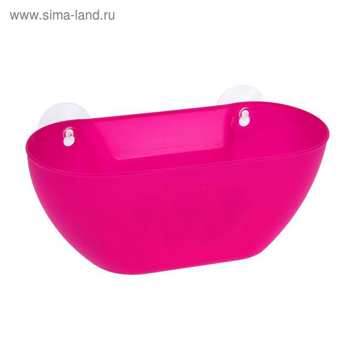 Держатель для ванных принадлежностей на присосках 28,5х12х11 см, цвет МИКС