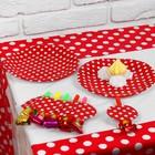 """Набор для праздника """"Горох"""", скатерть 180*108 см, 6 тарелок, 6 язычков, цвет красный"""