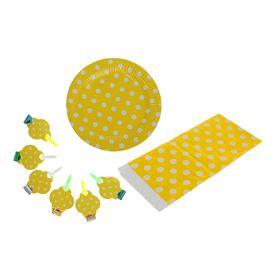 Набор для праздника 'Горох', скатерть 180*108 см, 6 тарелок, 6 язычков, цвет жёлтый Ош