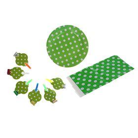 Набор для праздника 'Горох', скатерть 180*108 см, 6 тарелок, 6 язычков, цвет зелёный Ош
