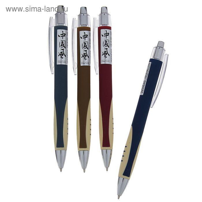 Ручка шариковая авт 0,5мм NUOQI корпус прорезин корпус МИКС U2 стержень масляный синий