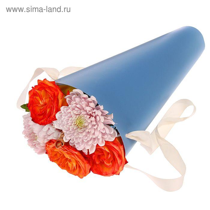Упаковка для букетов и композиций 36,5 х 15 х 15 см, цвет голубой