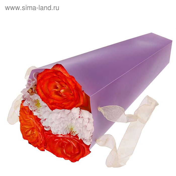 Упаковка для букетов и композиций 33 х 13 х 13 см, цвет сиреневый