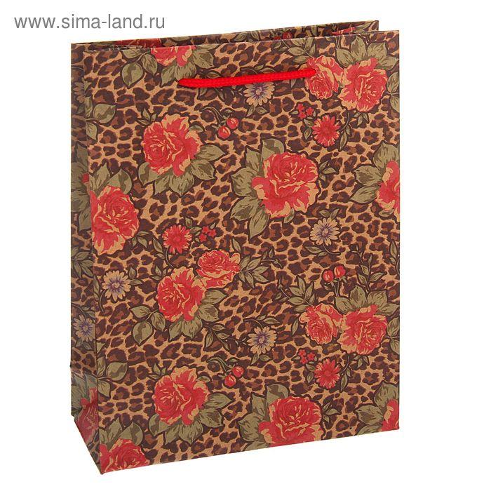"""Пакет крафт """"Цветы"""", 15 х 20 х 6 см"""