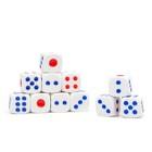 Кубики игральные 1,6 × 1,6 см, белые с цветными точками, фасовка 100 шт.