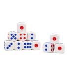 Кости игральные 1,5 × 1,5 см, белые с красными и синими точками, фасовка 100 шт.
