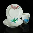 """Набор посуды """"Море"""", 3 предмета: тарелка d=17,5 см, миска 250 мл (d=17,5 см), кружка 260 мл"""