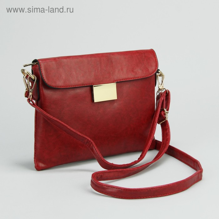 Клатч женский на молнии, 1 отдел с перегородкой, 1 наружный карман, длинный ремень, бордовый