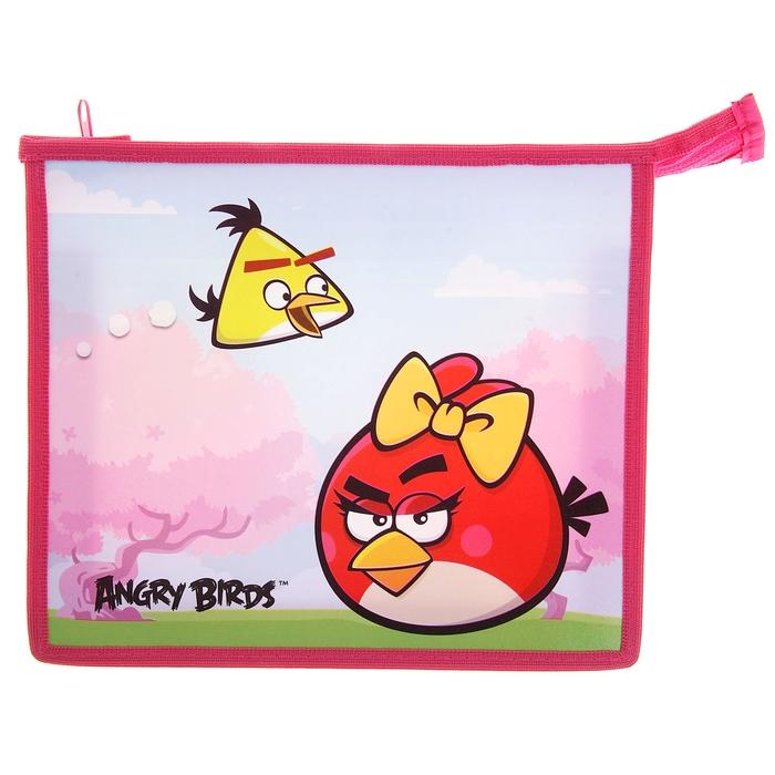 Папка для тетрадей А5 Angry Birds молния сверху, пластиковая