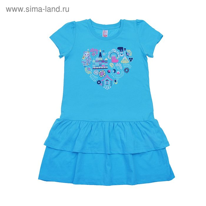 Платье для девочки, рост 122 см (64), цвет бирюзовый (арт. CSK 61392 (125))