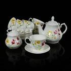 """Сервиз чайный """"Арина. Лютики"""", 14 предметов: чайник 1,04 л, сахарница 500 мл, 6 чашек 270 мл, 6 блюдец 14,7 см"""