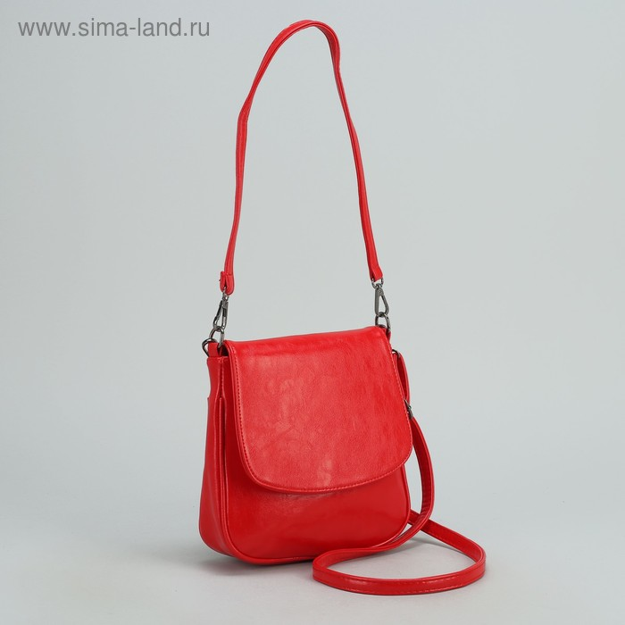 Сумка женская на молнии, 1 отдел с перегородкой, 1 наружный карман, регулируемый ремень, красная