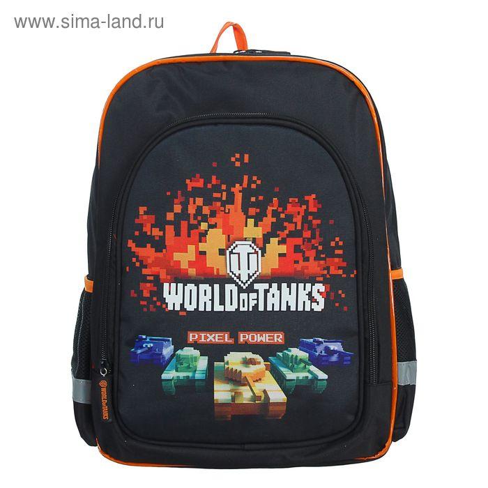 Рюкзак на молнии, 1 отдел, 2 наружных кармана, чёрный/оранжевый