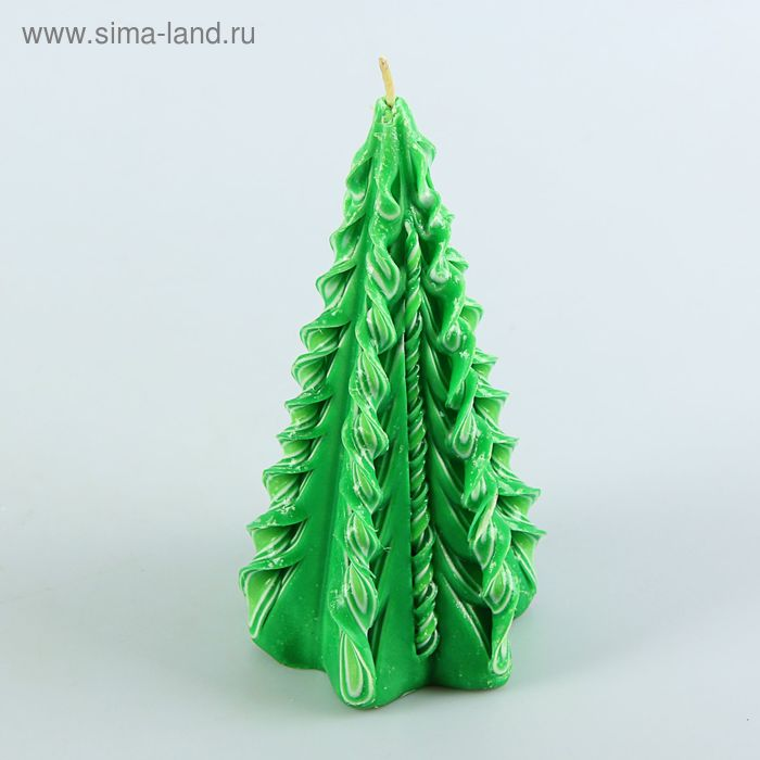 """Свеча резная """"Ёлка"""" зелёная 17см"""