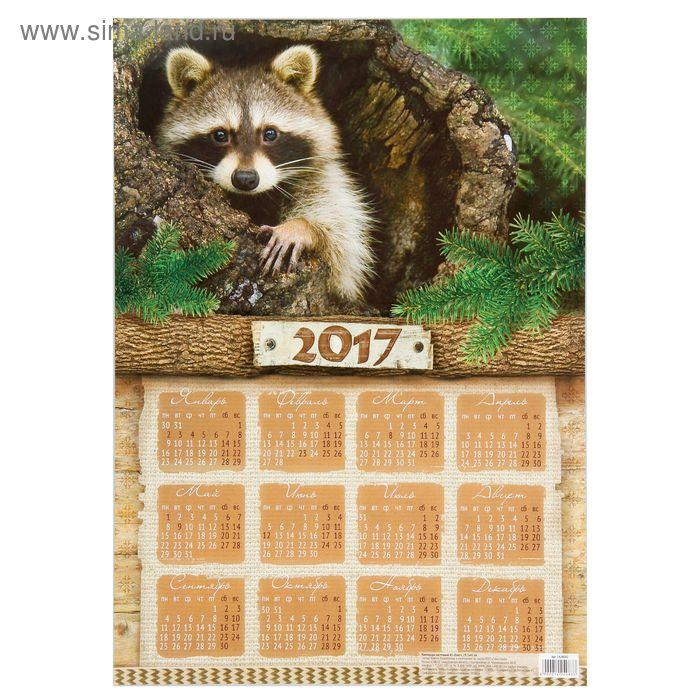 """Календарь листовой А3 """"Енот"""""""