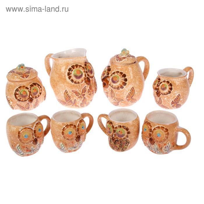 """Чайный набор """"Совы"""" бабочки, 8 предметов, микс"""