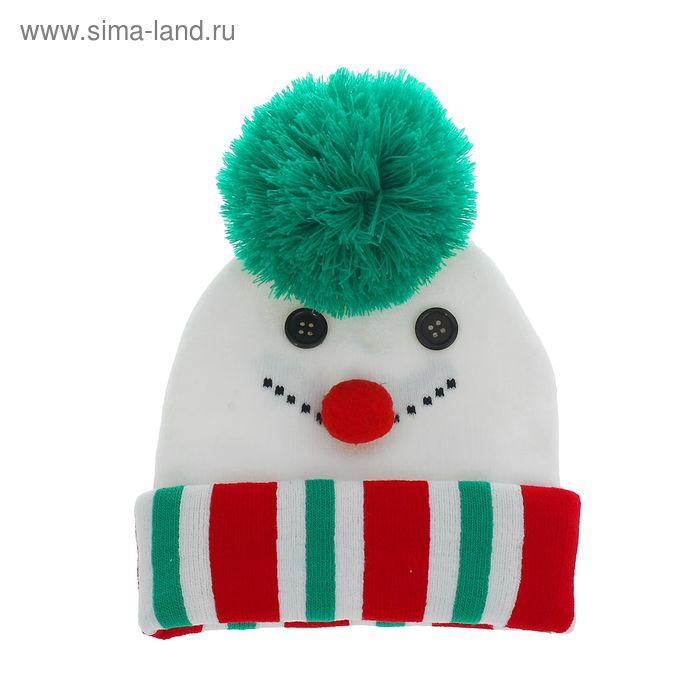 """Шапка детская """"Снеговик"""", зелёная бомбошка, р-р 50-56"""