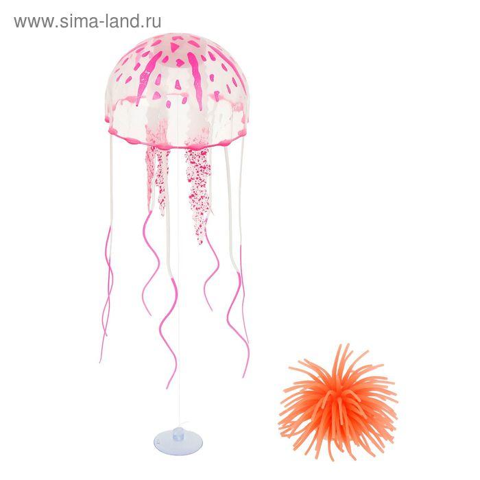 Аквадекор Медуза на присоске, 11 х 11 х 5,5 см, силикон, микс цветов