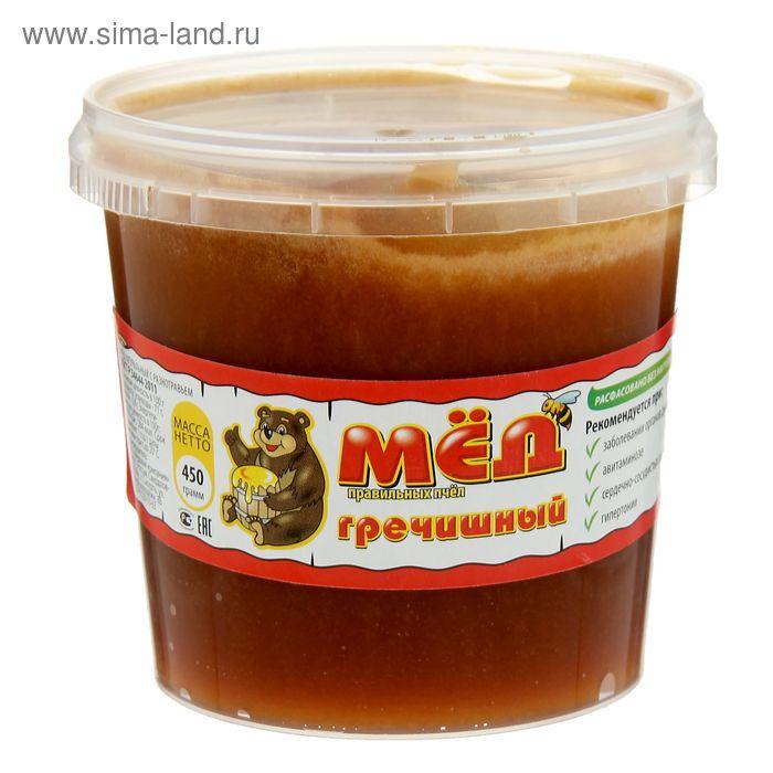 """Медовая компания """"Мёд правильных пчёл"""" гречишный, пластиковое ведро, 450 гр."""