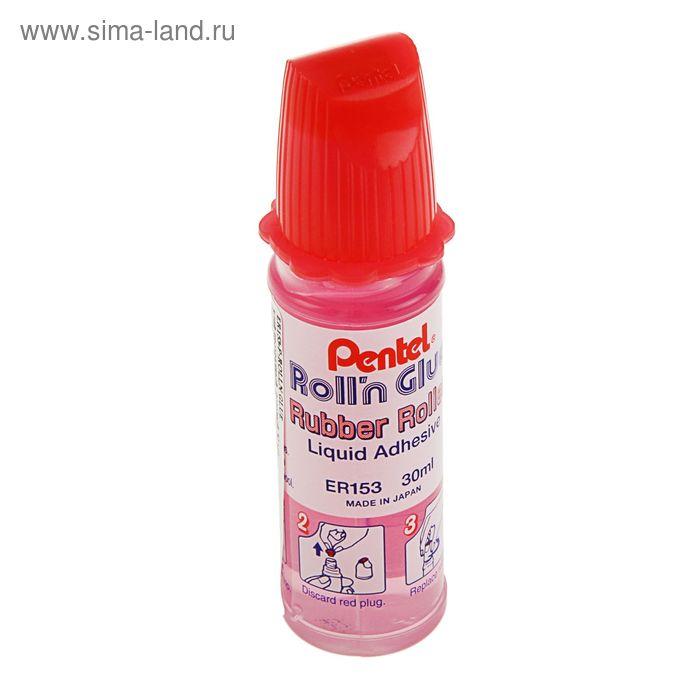 Клей канцелярский Pentel Roll'N Glue 30мл, с роликом, розовый корпус