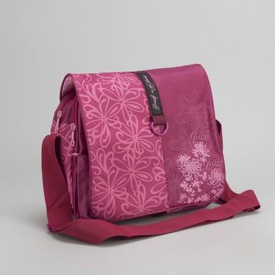 """Сумка молодёжная на молнии """"Цветы"""", 2 отдела, 1 наружный карман, цвет розовый"""