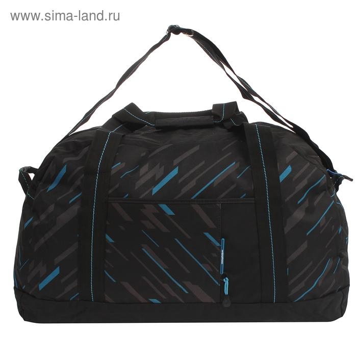 Сумка спортивная на молнии, 1 отдел, 2 наружных кармана, чёрный/синий