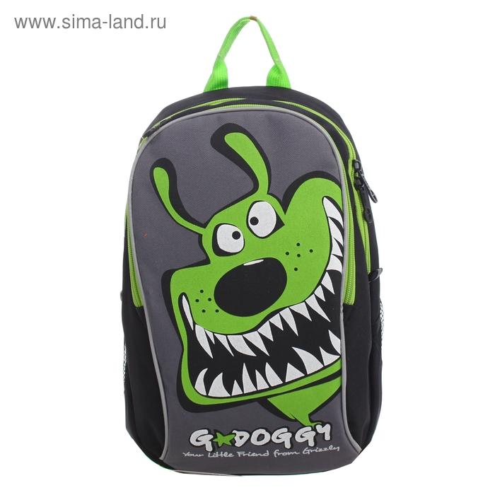 Рюкзак детский на молнии, 2 отдела, 2 наружных кармана, чёрный/зелёный