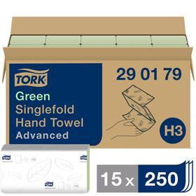 Полотенца листовые Tork Singlefold сложения ZZ (H3), зеленые, 250 листов