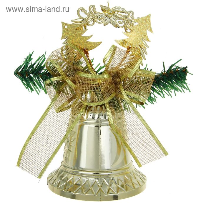 """Подвеска новогодняя """"Колокольчик с бантом"""" золото 11,5*22 см"""