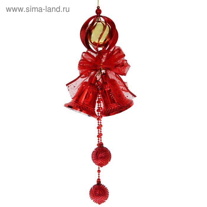 """Подвеска новогодняя """"Колокольчики с золотым шариком"""" 15*40 см"""