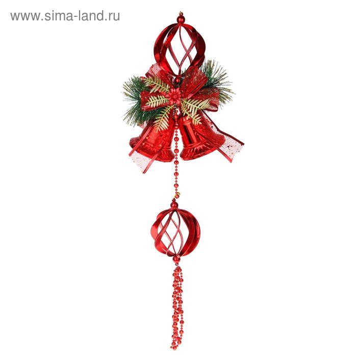 """Подвеска новогодняя """"Колокольчики с резным шаром"""" 15*35 см"""