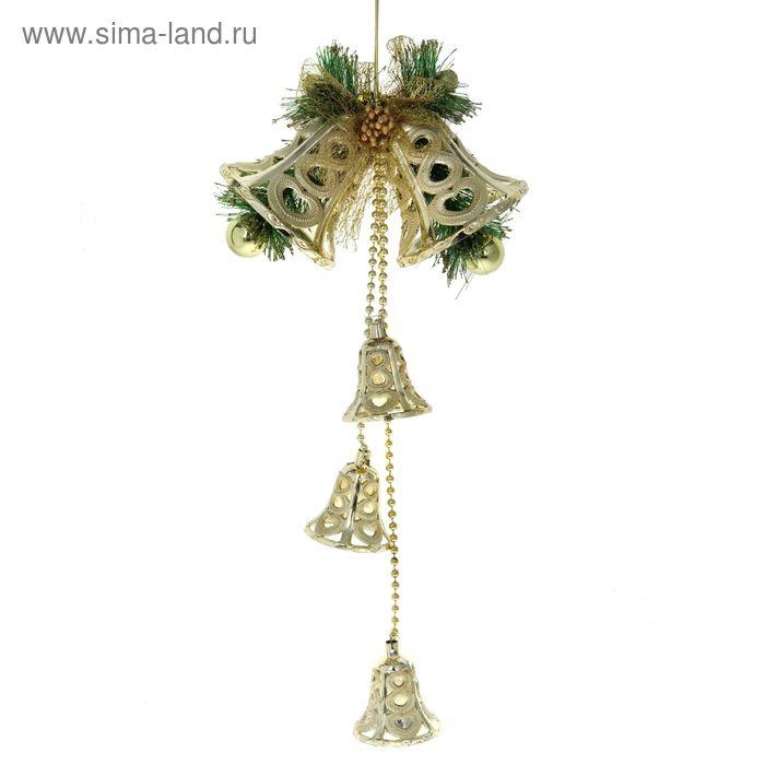 """Украшение новогоднее """"Колокольчики резные золотые с колокольчиками"""" 19*35 см"""