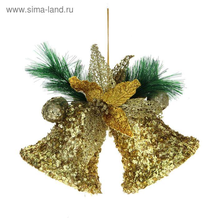 """Украшение новогоднее """"Колокольчики с золотыми пайетками"""" 30*20 см"""