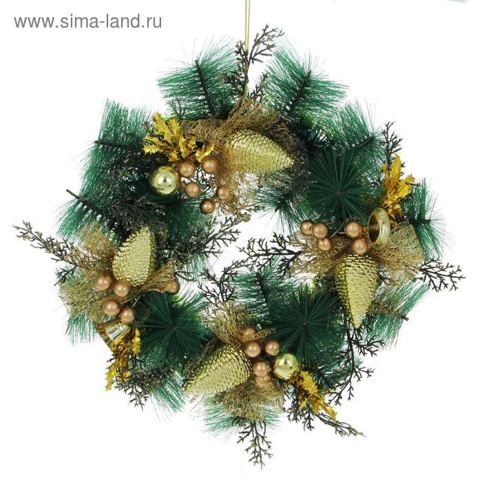 Венок новогодний d-23,5 см с колокольчиками и шишечками, золото