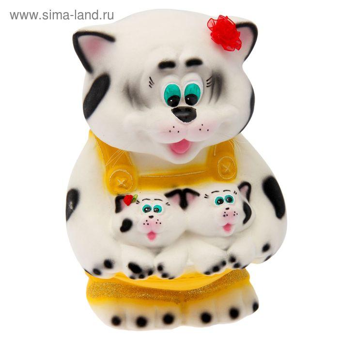 """Копилка """"Кошка с котятами"""" флок, белая"""